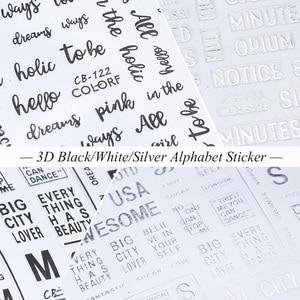 Image 5 - 1pcs Alphabet 3D Nail Sticker Decals Black White Silver Letter Sliders Manicure Decoration Adhesive Nail Art Tips JICB122 124