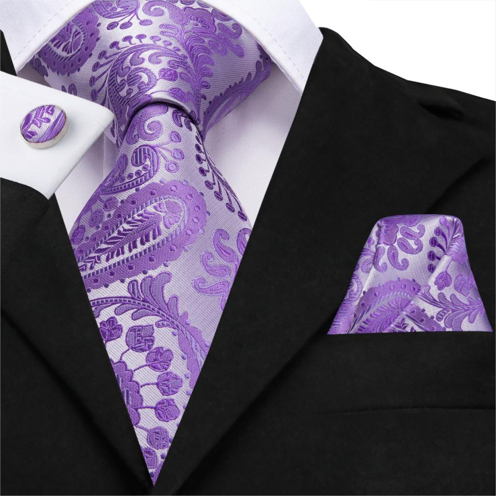 Men's Tie Set Necktie For Men Handkerchief Set Dreaming Purple Casual Paisley Floral Silk Ties Pocket Square Set For Men Wedding