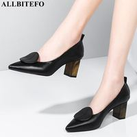 ALLBITEFO sheepskin genuine leather women high heel shoes spring fashion girls ladies high heels pointed toe heel women shoes
