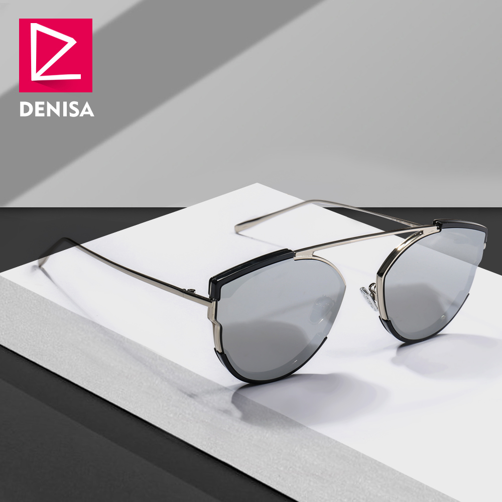 DENISA Silver Mirror Sunglasses Ladies 2019 Trendy Retro Cat Eye Glasses Women's Travel Sun Glasses Girls UV400 Oculos G31067