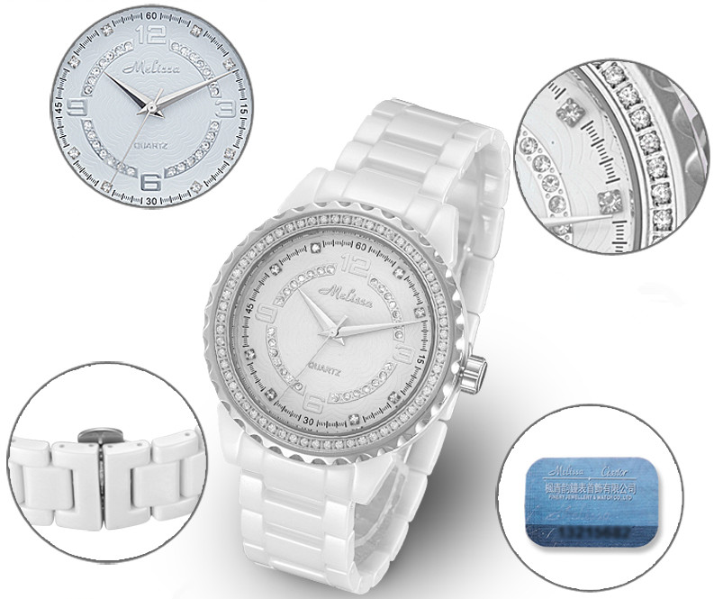100% Real Azul Cerâmica Relógio Shinning Cristal