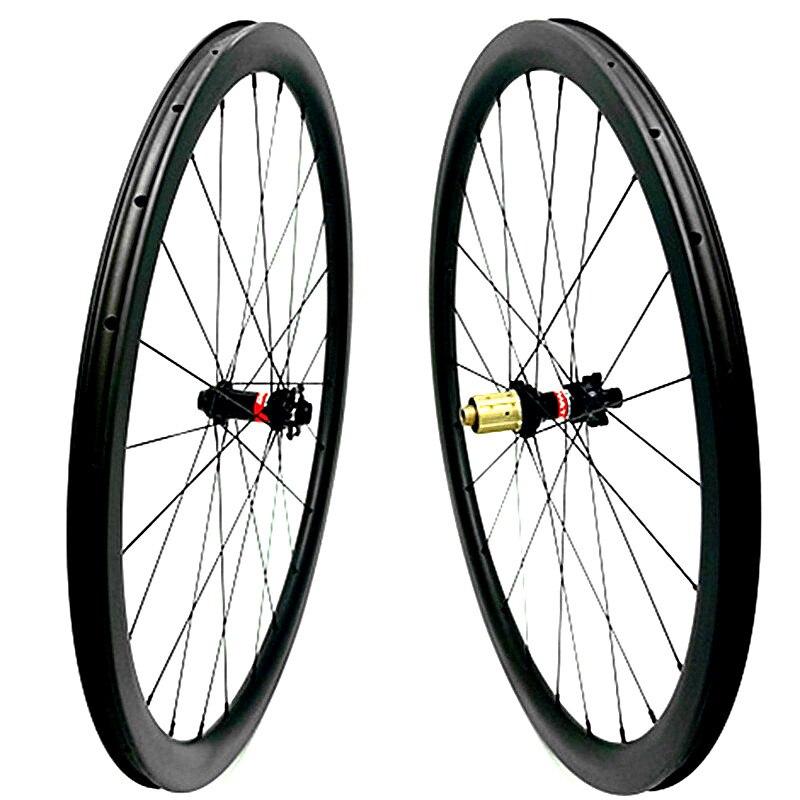 700c carbon road disc wheels 38x25mm tubeless D411SB D412SB 100x15 12 142x12 thru axle pillar 1420