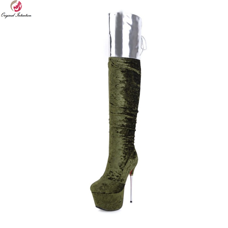 Original Intention Super Sexy Women Over-the-Knee Boots Round Toe Metal Thin Heels Party Boots Shoes Woman Plus US Size 3-10.5 sexy women fashion boots high thin heels shoes round toe platform ladies party over the knee knight boots plus size 43