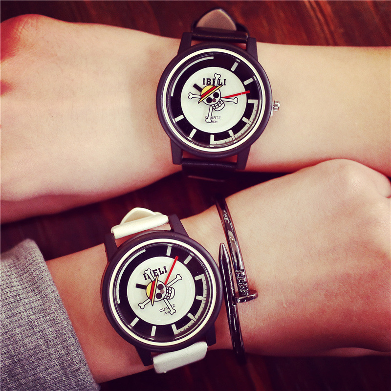 100% New IBELI Fashion Skull One Piece EXO PU Leather Quartz Watch Wristwatch Gift for Men Boy Women Girl Student Black OP001