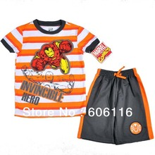 2015 Hot sale Kids Suit, Baby boy 2pcs Iron Man set with a short sleeve T-shirt and shorts, children Clothes, 3sets/lot-7M8751