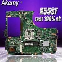 Akemy n55sf placa-mãe do portátil para For Asus n55sf n55sl n55s teste original mainboard
