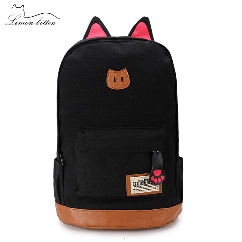 2018 Canvas Cat Ears Travel Japan Style Women Backpack Student Girl Shoulder Bag Mochila Lovely Cat Backpack For Female Rucksack стоимость