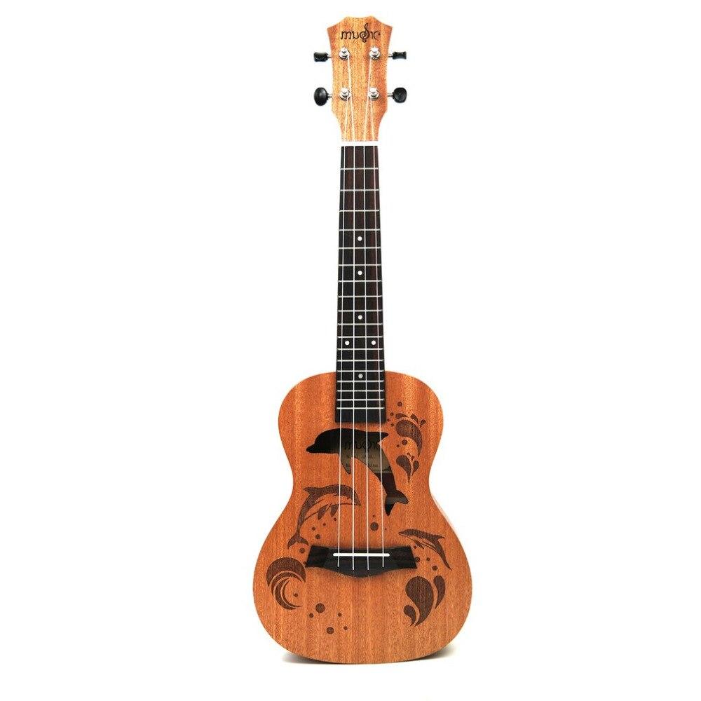 21/23 zoll Professionelle Sapele Dolphin Muster Ukelele Gitarre Mahagoni Ansatz Empfindliche Tuning Peg 4 Strings Holz Ukulele Geschenk NEUE