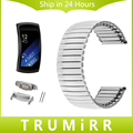Elástica correa de acero inoxidable con adaptadores para samsung gear fit 2 sm-r360 smart watch band correa de muñeca de la pulsera de plata