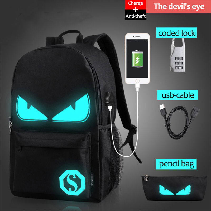USB Charge Computer Anti-theft Laptop Backpack School Backpack Student Luminous Animation School Bags For Teenager mochila