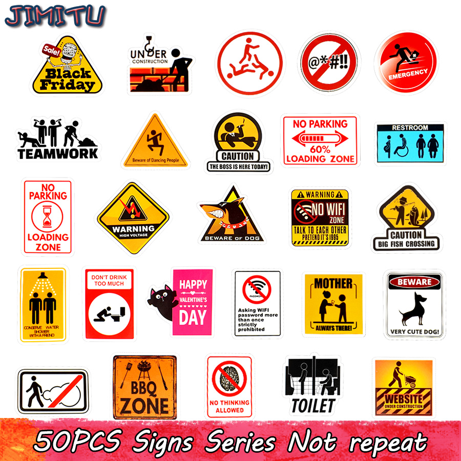50 PCS Warning Stickers Road Reminder Computer Sign Waterproof Decal Sticker To Car Motorcycle Laptop Luggage Bicycle Snowboard