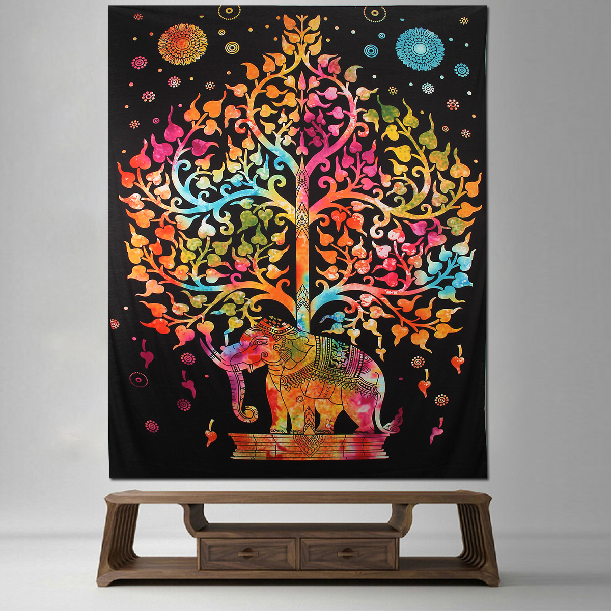 Elephant Mandala Tapestry Throw Towel Hippie Tapestry Floral Printed Home Decor Wall Tapestries Bedspread 210*150CM 26