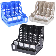 купить 3 Colors document plastic tray file holder with Pen holder plastic Desk file organizer file rack desktop storage office suppiles дешево