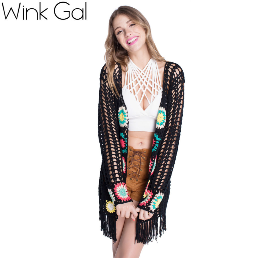 Wink Gal 2015 Womens Fall Fashion Long Sleeve Floral Long Black ...