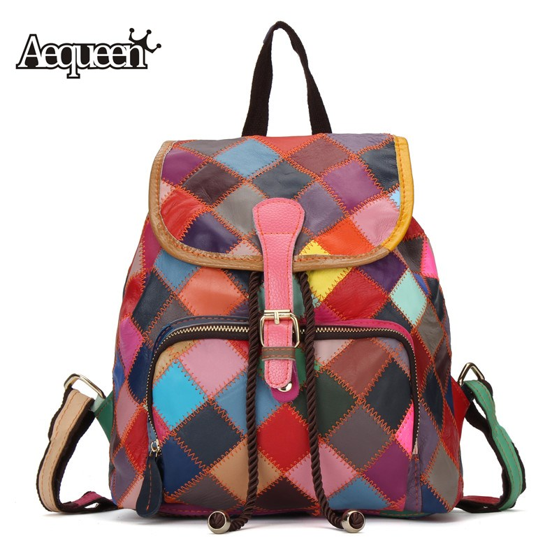 AEQUEEN Women Backpack Genuine Leather 2018 Vintage Patchwork Diamond Lattice Backpacks School Bags For Teenage Girls Travel Bag aequeen women backpack casual 2017 new solid corduroy simple backpacks school bags for teenage girls travel bag