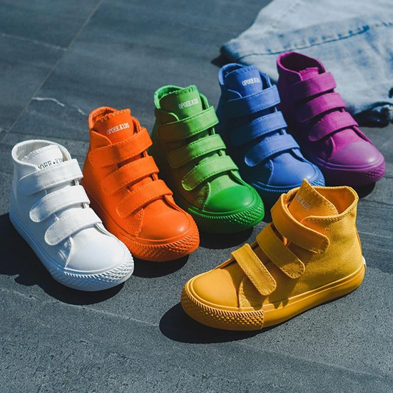 cc131df3 Детская парусиновая обувь, женские кроссовки с высоким берцем обувь для  мальчиков 2019 Новый Демисезонный модные кроссовки детская повседне.