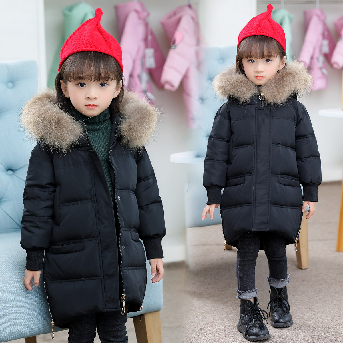 -30 Degree Children Winter Duck Down Girls Thickening Warm Down Jackets Girl Long Big Fur Hooded Outerwear Coats Kid Down Jacket a15 girls jackets winter 2017 long warm duck down jacket for girl children outerwear jacket coats big girl clothes 10 12 14 year