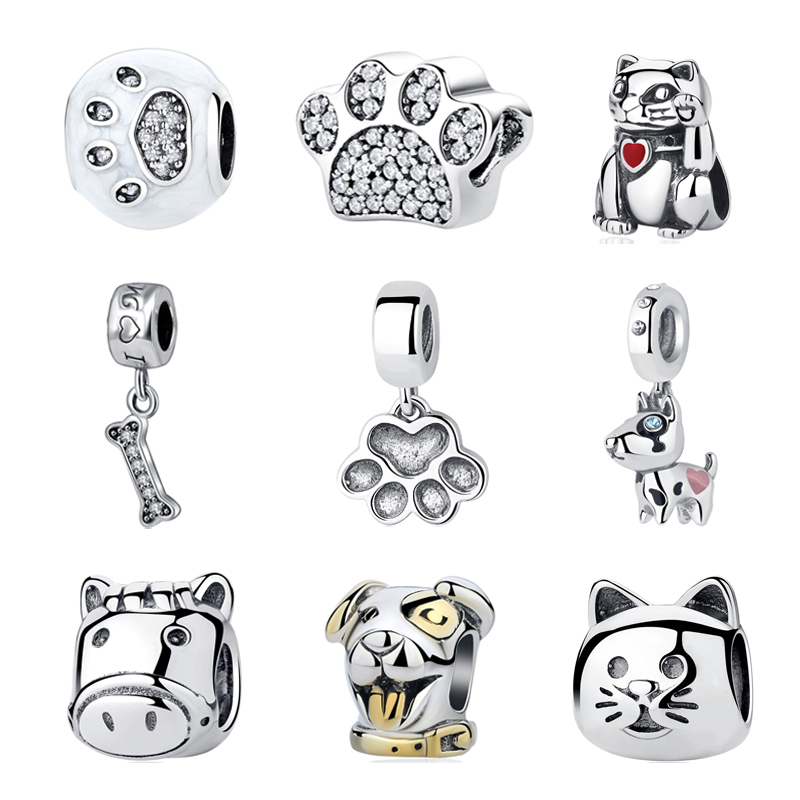 fdb4012f3 ... 2017 Authentic 925 Sterling Silver Bead Charm I Love Pet Dog Puppy Cat  Paw Print Fit ...