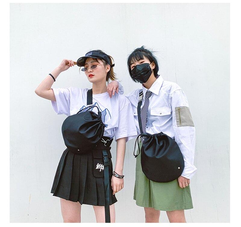 NoEnName Women Mens Adjustable Black Drawstring Large Capacity Cross Body Chest Shoulder Bag Handbag