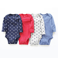 4pcs New Baby Bodysuits Dots Stripes Printed Solid Color Baby Jumpsuits New Born Boys Girls Clothing Kid Children Cotton Clothes