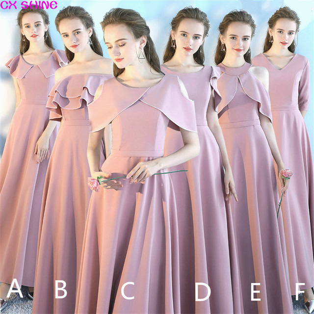 Cx Shine New Custom Size Elegant Wedding Long Bridesmaid Dresses Dusty Pink Color Dress