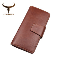 COWATHER Top Cow Genuine Leather Wallets Long Style Male Purse For Business Men Coffee High Quality