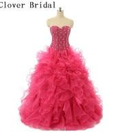 Ready To Ship Sweetheart Organza Ruffles Ball Gown Puffy Blue Hot Pink Cheap Quinceanera Dresses Vestidos