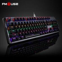 FMOUSE 104 Клавиши Механические Сплава Арес Игровой Клавиатуры Красочный Подсветка для LOL Английский Про Игры Встроенной ROM PK CK104