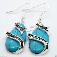 Najlepsze walentynki prezent lady 15*26mm niebieski kamień 925 Sterling Silver Markasyt Kolczyki