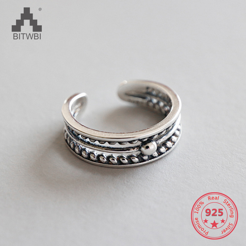 100% S925 Sterling Silver Three-layer Bead Twist Hollow Open Men and Women Ring100% S925 Sterling Silver Three-layer Bead Twist Hollow Open Men and Women Ring