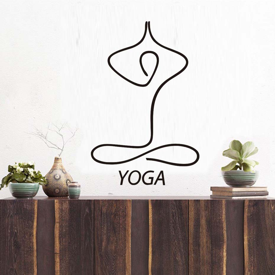 US $6 38 35% OFF|Line Drawing Indian Meditation Yoga Concise Wall Stickers  Removable Vinyl Art Wall Murals For Living Room Bedroom Home Decoratio-in