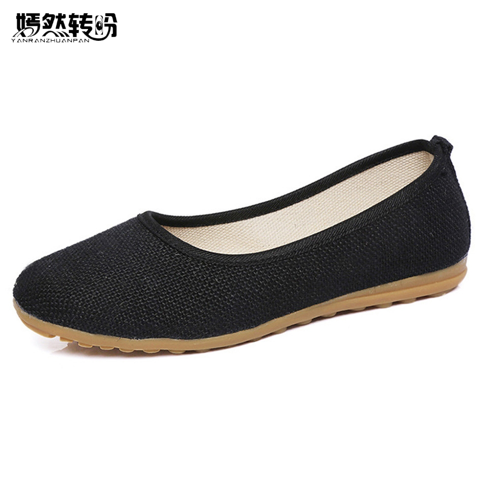 Vintage Women Flats Shoes Simple Slip On Cotton Fabric Linen Soft Ballerina Dance Flat Shoes Woman Sapato Feminino Plus size 40 vintage embroidery women flats chinese floral canvas embroidered shoes national old beijing cloth single dance soft flats