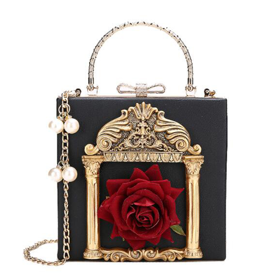 Baroque Embossed Box Women Handbag Vintage Flower Lady Crossbody Bags Pearl Chain Messenger Luxury Pu Shoulder Bag Small Purses