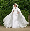 Women White/Ivory Faux Fur Trim Winter Christmas Bridal Cape Stunning Wedding Cloaks Hooded Long Party Wraps Floor Length