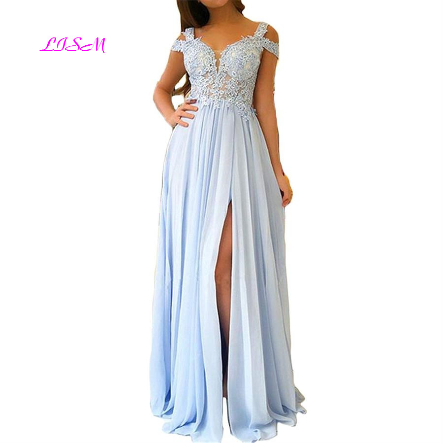 Side Split Chiffon   Prom     Dresses   Sweetheart Sleeveless Lace Appliqued Long Evening Gown Sky Blue Custom Made Special Fashion Wear