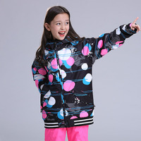 GSOU SNOW New Girl's Ski Suit Outdoor Winter Windproof Warm Waterproof Breathable Ski Jacket For Girl Size XS L