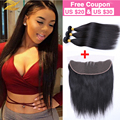 Top 7A Mink Peruvian Virgin Hair With Closure Peruvian Hair Straight With Closure Ear To Ear Lace Frontal Closure With Bundles