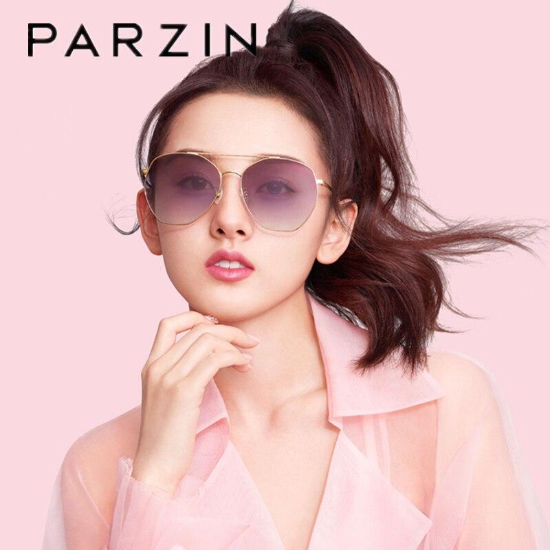 PARZIN lunettes de soleil femmes marque Designer grand métal cadre lunettes de soleil pour femme UV 400 dames nuances avec étui 8203