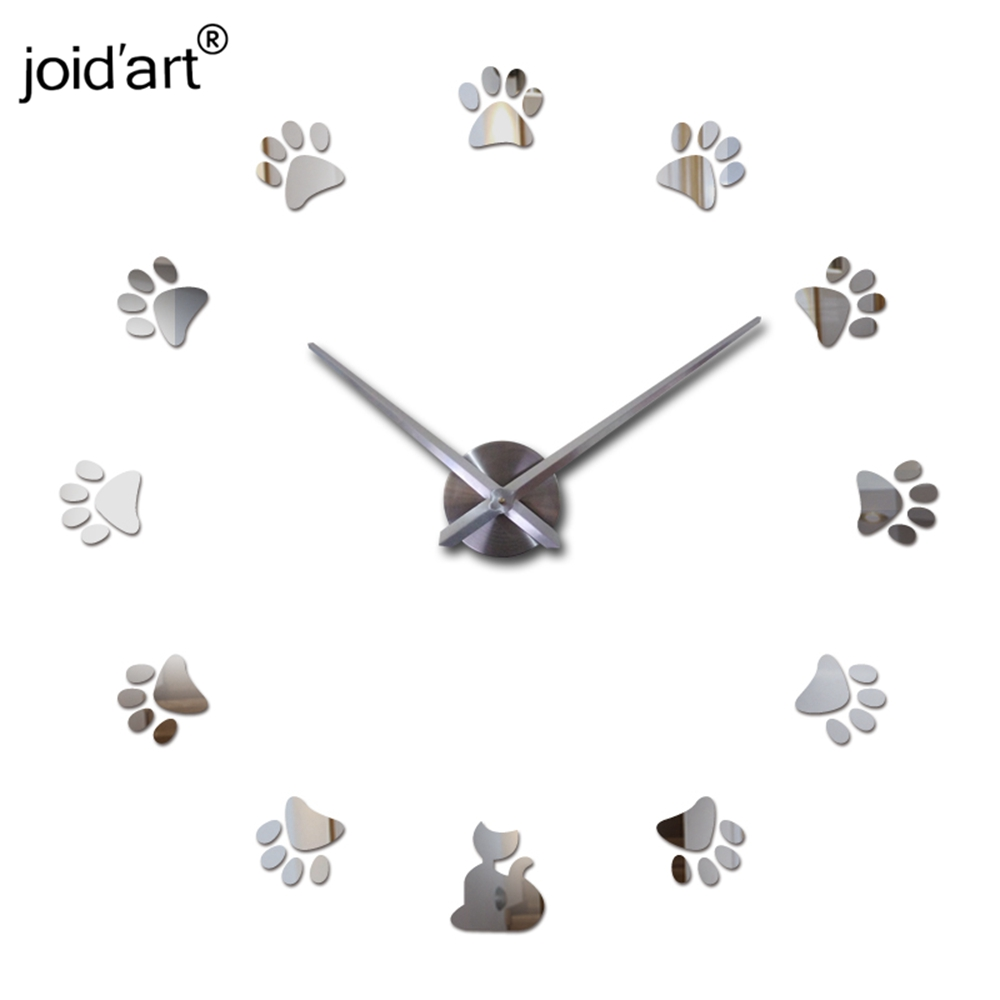 hot new real 3d diy home decoration Quartz Living Room acrylic mirror watch clocks clock wall stickers in Wall Clocks from Home Garden