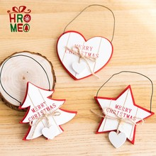 Red and white Christmas tree pendants Wooden wooden horse pendants girl heart Christmas decorations