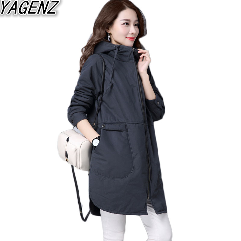Autumn Winter Female Cotton Coat Windbreaker 2017 Casual Hooded Cotton jacket Women plus size Black Overcoat Lady Gray Outerwear 2017 autumn winter women cotton jacket women knitted hat black cotton jacket high quality casual comfort clothing ls146