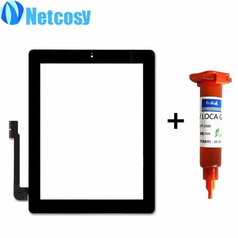 Netcosy Touch Glass Screen Digitizer Home Button Assembly replecement For ipad 4 touchscreen+TP-2500 5ml UV glue new touch panel for ipad air 1 ipad 5 touch screen digitizer flex cable front glass assembly adhesive with home button t0 3