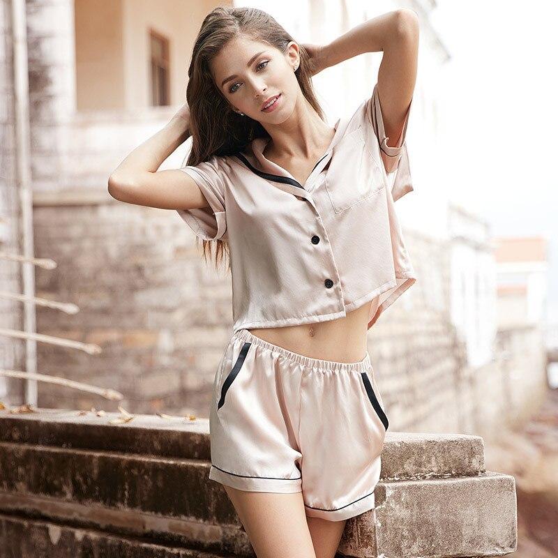RenYvtil Brand Simulation Silk Pajamas Women Summer short-sleeve Pant Plus Size Pajamas Sailor Style Home Wear 2 Pieces Suit