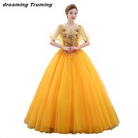 vestidos de 15 anos quinceanera 2019 Yellow Royal Blue Tulle Embroidery Applique Illusion Half Sleeve Sweet 16 Dresses In Stock