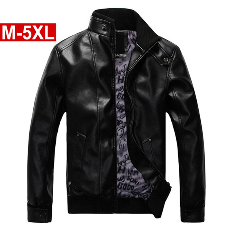 2018 Male Fashion Leather Velvet Motorcycle Jacket High Quality Classic Leather Jacket M~5XL