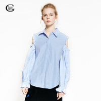 Lace Girl 2018 New Fashion Plaid Shirts Strip Off Shoulder Women Blouses Turn Down Collar Casual