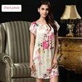 2016 Summer Fashion New Lounge Nightdress Female Silk Slip Sleepwear Floral Print Plus Size Women's Sleepshirt For Free Shipping