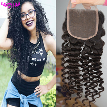 3 free middle Part Lace Closure Brazilian Unprocessed Virgin Deep Curly Hair Bleached Knots Natural black Color Free Shipping