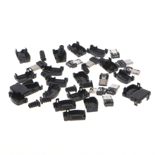OOTDTY Black 10 Sets 5 Pin Right Angle Micro USB Connector Male Plug Kit with Black Cover Solder Jack
