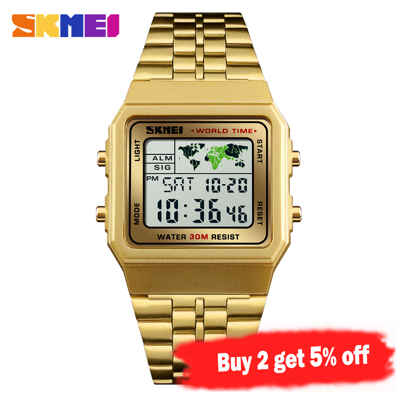Image 2 - SKMEI Top Luxury Fashion Sport Watch Men Alarm Clock 3Bar Waterproof Stainless Steel Strap Digital Watches reloj hombre 1338-in Digital Watches from Watches